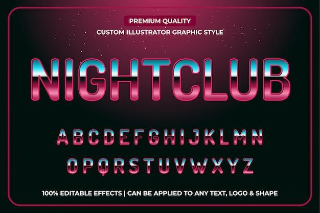 Discoteca 3d efecto de texto de lujo estilo gráfico vectorial editable