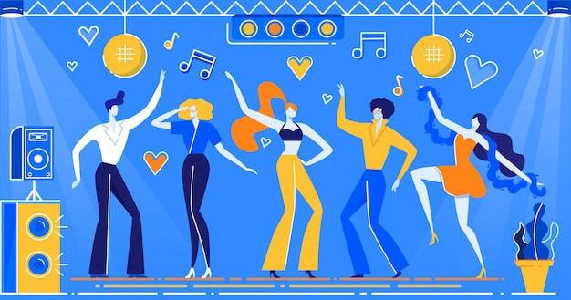 Discoteca bailando personas en ropa retro, peinado