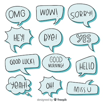 Discurso azul burbujas con diferentes expresiones