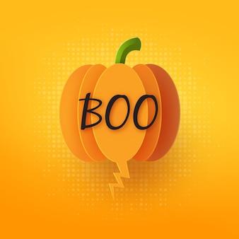 Discurso de burbuja de calabaza de halloween en ilustración de estilo de corte de papel de fondo naranja.