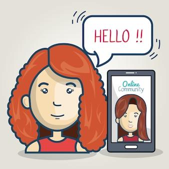 Discurso de burbuja en línea de comunidad de smartphone de mujer