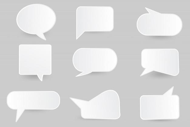 Discurso de burbujas de papel corte plantilla de diseño.