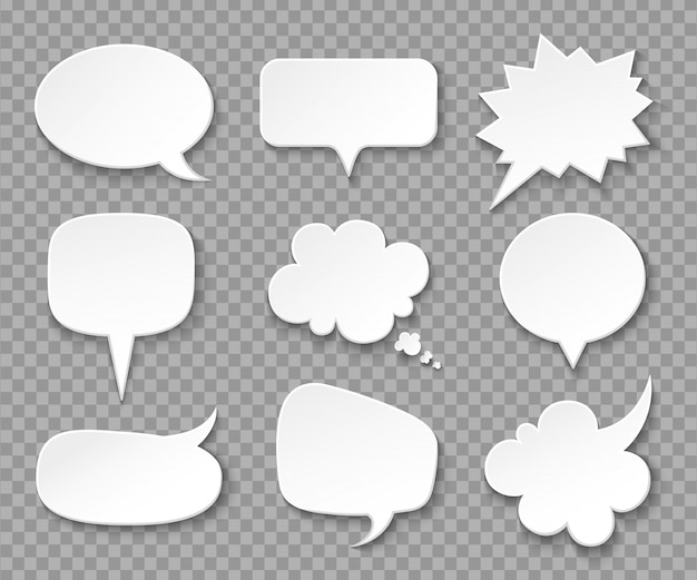 Discurso de burbujas de papel. globos de pensamiento en blanco blanco, caja de gritos. discurso vintage y conjunto de burbujas de expresión de pensamiento