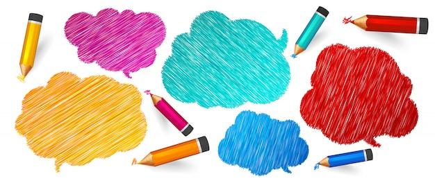 Discurso y burbujas de pensamiento dibujadas con lápices de colores.