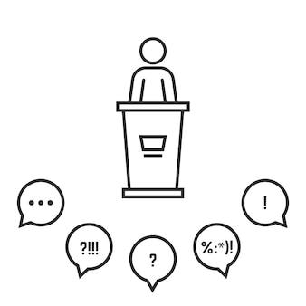 Discurso de campaña ante una audiencia. concepto de premio, informe, stand informativo, profesor, escenario, presidente, conferencia, motivación. tendencia de estilo lineal diseño de logotipo moderno ilustración vectorial fondo blanco