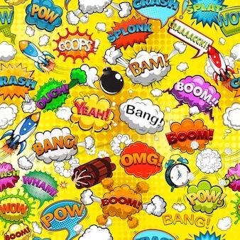 Discurso cómico burbujas de patrones sin fisuras en la ilustración de fondo amarillo