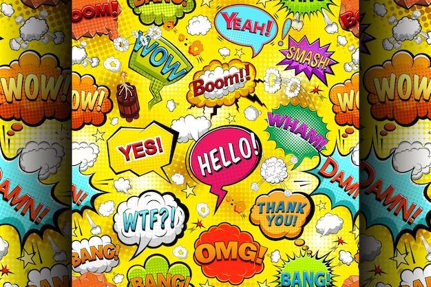 Discurso de cómics multicolores burbujas de patrones sin fisuras