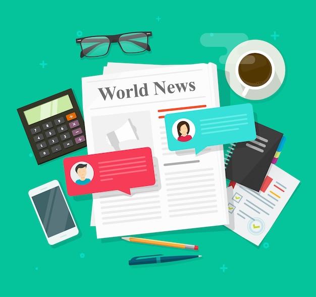 Discurso de discusión de noticias, mensajes de chat o evento de prensa en el periódico hablando de rumores sobre el plano mundial de noticias