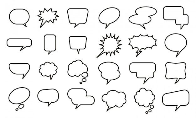 Discurso globo vacío. etiqueta engomada de la burbuja, globos de boceto de conversación y conjunto de elementos de texto cómico. colección de diferentes burbujas de discurso y pensamiento en blanco sobre fondo blanco.