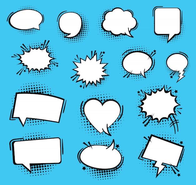 Discurso o pensamiento de burbujas. burbujas de discurso cómico vacío retro. icono