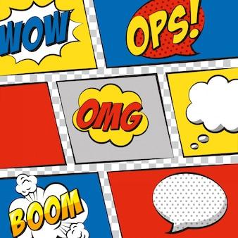 Discursos de pop art sobre dibujos animados de burbujas.