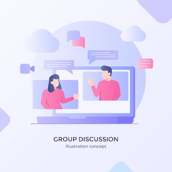 Discusión grupal hablando hablando chateando compartiendo solución curso en línea red de internet estilo plano moderno de dibujos animados.