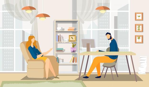 Discusión del hombre y la mujer en la oficina