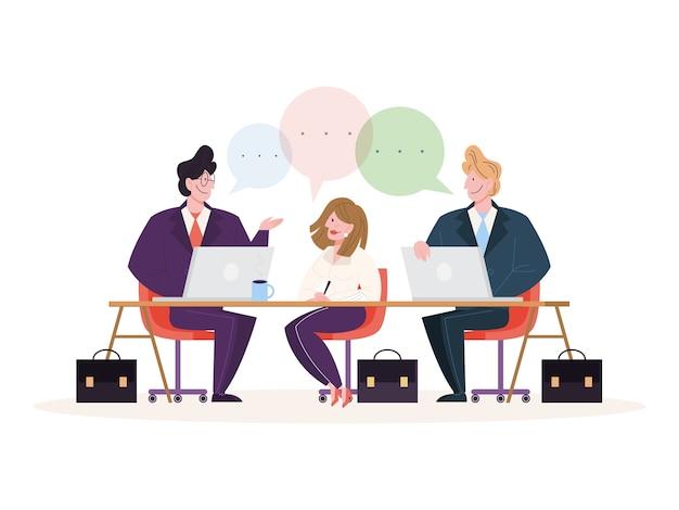 Discusión y lluvia de ideas en concepto de equipo. grupo de empresarios en el trabajo, reunión de oficina. comunicación profesional. ilustración