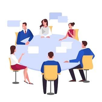 Discusión y lluvia de ideas en la ilustración del concepto de equipo