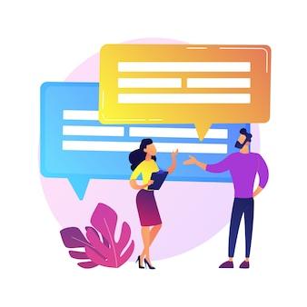 Discusión de negocios. comunicación verbal, conversación de colegas, conferencia corporativa. negociación del establecimiento de sociedades. reunión de la oficina.