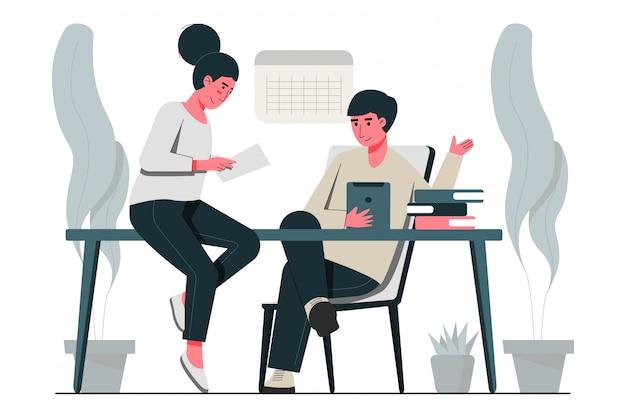Discusión de negocios en la oficina