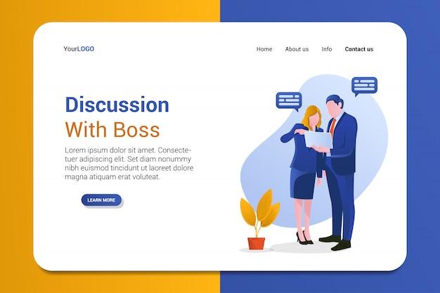 Discusión con la plantilla de la página de inicio del jefe