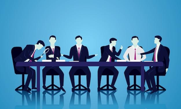 Discusión de la reunión de equipo, concepto de ilustración de trabajo en equipo