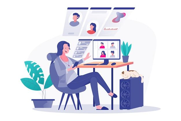 Discusiones remotas usando teléfonos inteligentes y computadoras, videoconferencias de mujeres con colegas, redes sociales