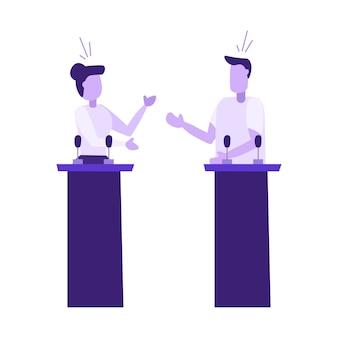 Discutir político entre hombre y mujer
