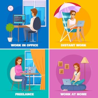 Diseñador artista set trabajando