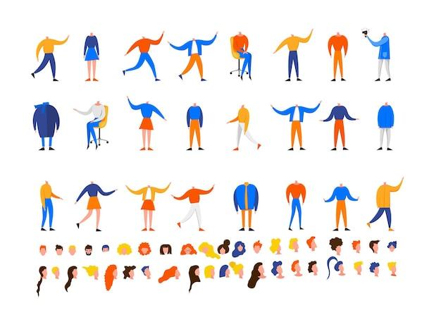 Diseñador de bricolaje con hombres y mujeres en diferentes poses sentado y de pie aislado sobre un fondo blanco. lindo estilo plano. ilustración vectorial.