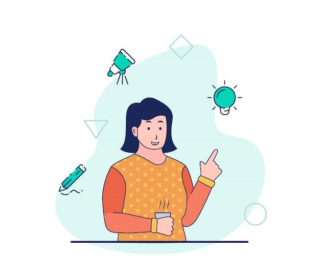 Diseñador creativo trabajo de la mujer tener idea innovación lluvia de ideas investigación desarrollo boceto dibujo diseño en proceso creativo con estilo moderno plano de dibujos animados.