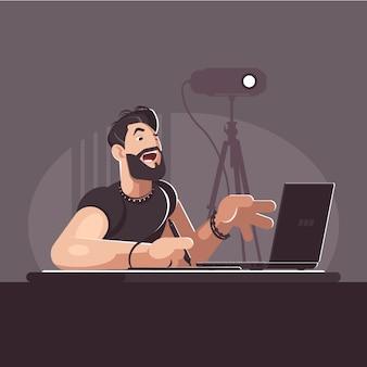 Diseñador elegante con barba trabaja en el lugar de trabajo. concepto de ilustración de estilo plano para el proceso de diseño.
