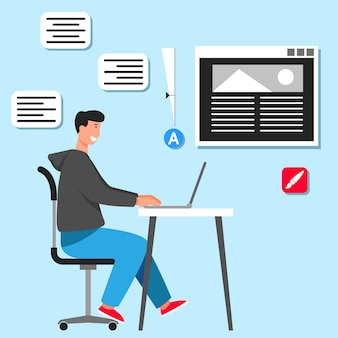 Diseñador gráfico en el escritorio