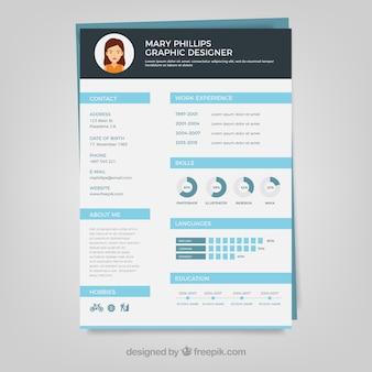 Diseñador gráfico plantilla del curriculum vitae