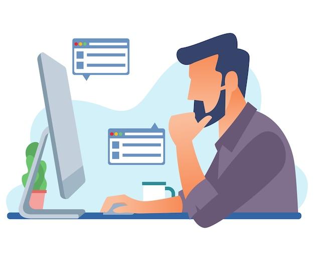 Un diseñador gráfico está trabajando en una computadora.