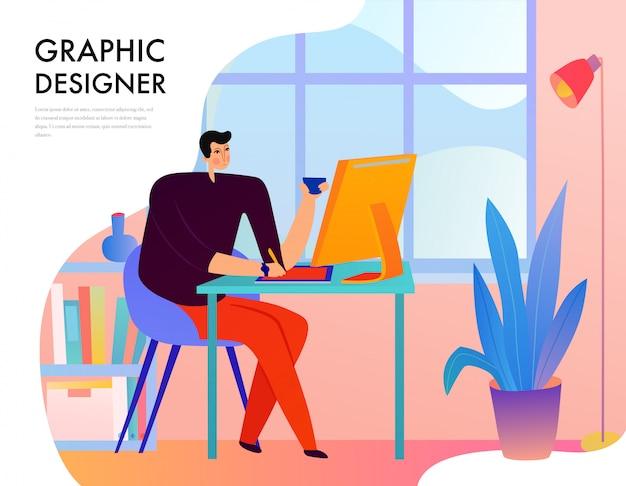 Diseñador gráfico durante el trabajo creativo detrás del escritorio con computadora en ventana plana