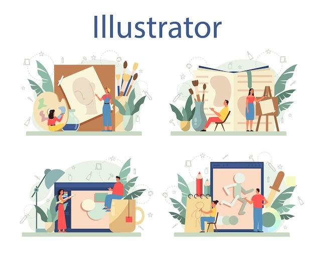 Diseñador de ilustración gráfica, conjunto ilustrador