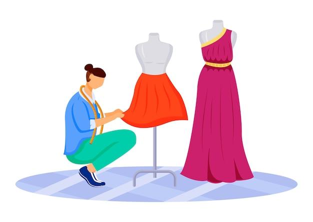Diseñador de moda atelier color plano. creando faldas exclusivas, vestidos en taller. diseñar y coser ropa en sastre studio personaje de dibujos animados aislado sobre fondo blanco.