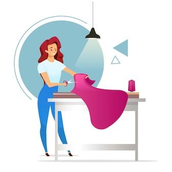 Diseñador de moda ilustración en color plano. taller. sastre femenino. mujer haciendo ropa estudio de costura chica cortando tela. modista. personaje de dibujos animados aislado sobre fondo blanco.