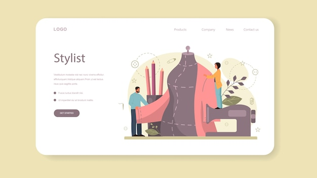 Diseñador de moda o banner web o página de destino a medida.