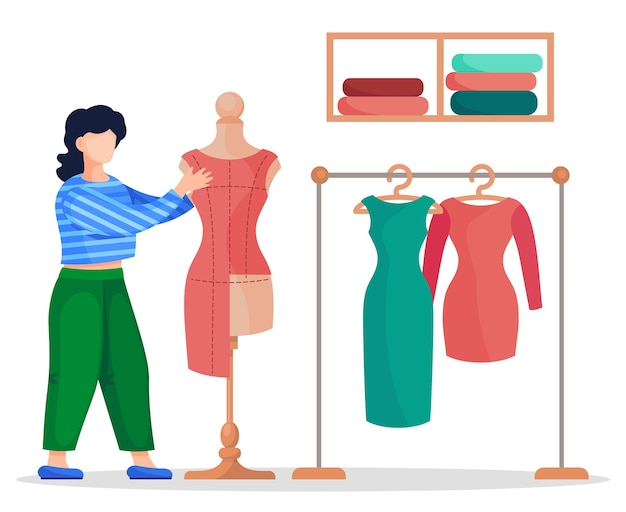 Diseñador o costurera que trabaja con textiles de vestido rojo