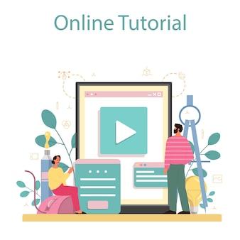 Diseñador de plataforma o servicio online de modelado 3d. dibujo digital con herramientas y equipos electrónicos. video tutorial en línea.