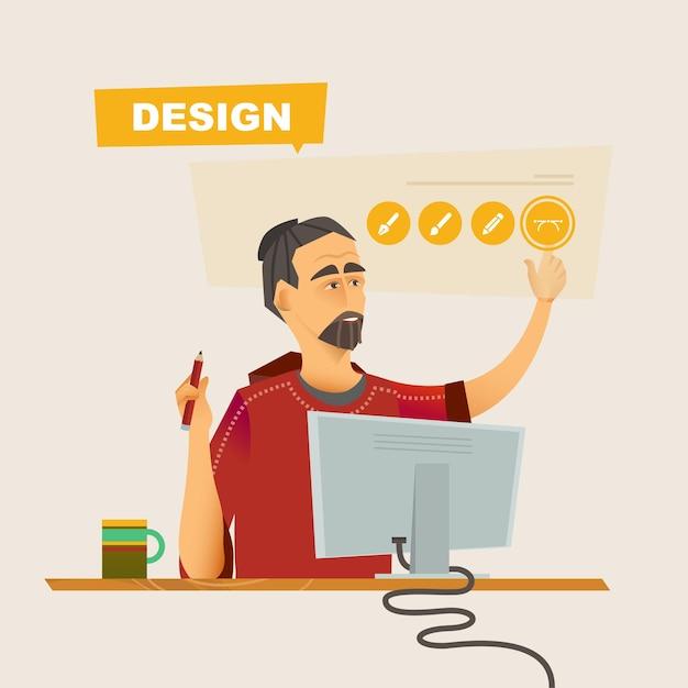 Diseñador en el proceso de trabajo tema empresarial de ilustraciones planas vectoriales