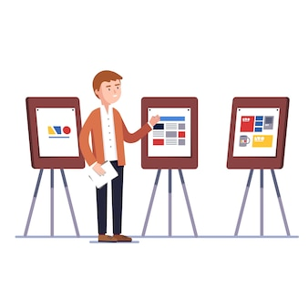 Diseñador que muestra el proyecto de identidad de marca de diseño