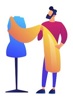 Diseñador de ropa de moda trabajando en la ilustración de vector de proyecto de vestido.