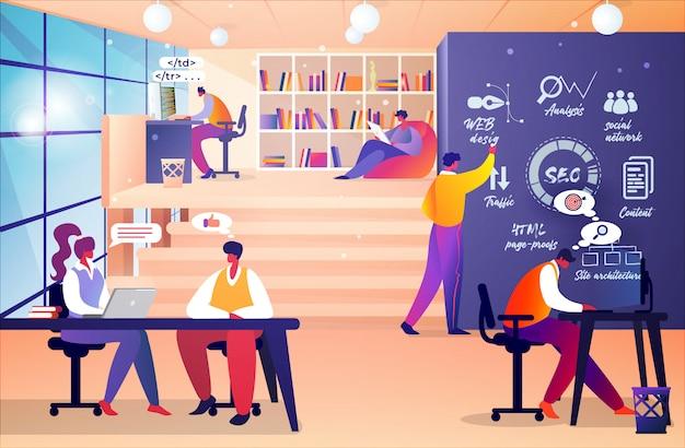 Diseñador de sitios web y reunión de desarrolladores de programadores