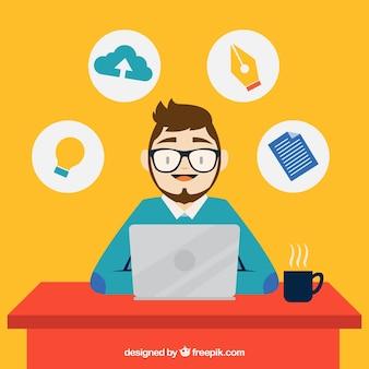Diseñador trabajando con su portátil