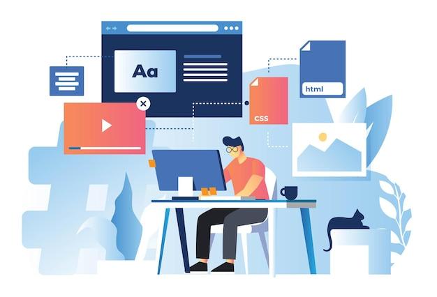Diseñador web desarrollando tecnología front-end