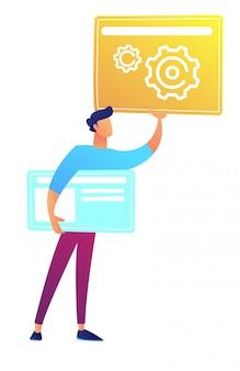 Diseñador web que sostiene páginas web con engranajes y líneas ilustración vectorial.