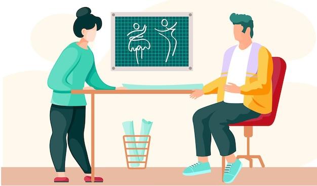 Diseñador de zapatos verdes se comunica con el cliente sobre ropa nueva