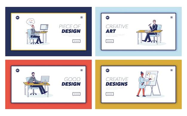 Diseñadores gráficos conjunto de páginas de destino con personas creando obras de arte.