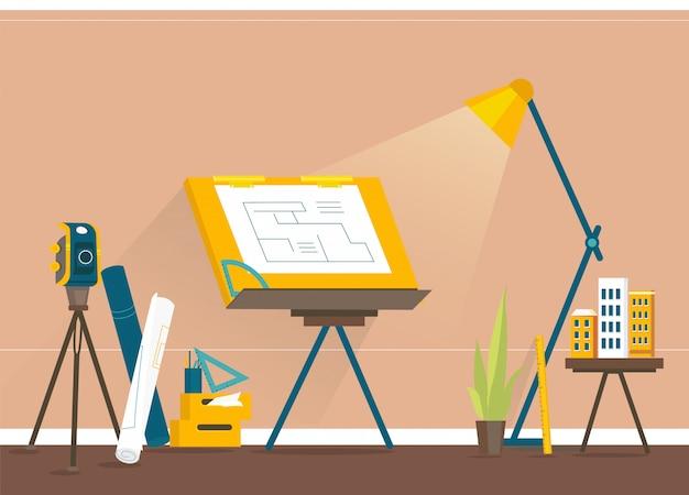Diseñadores del lugar de trabajo para la creación de proyectos.