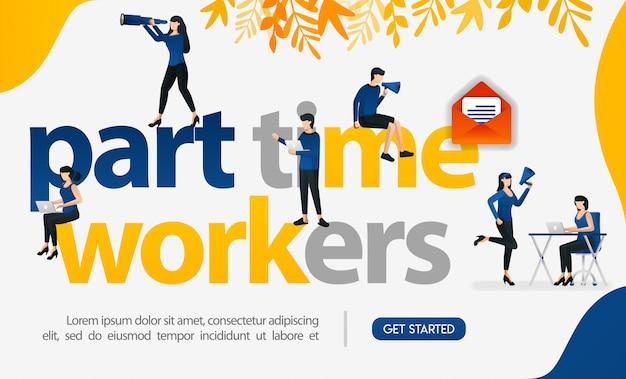 Diseñar para buscar trabajadores a tiempo parcial con anuncios de medios y banners web.
